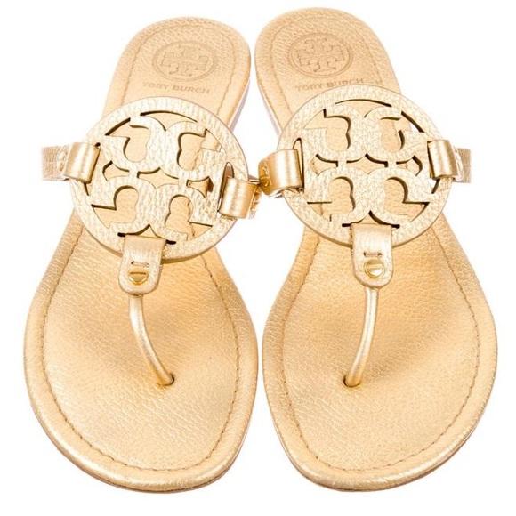 5937699c5a1 Tory Burch Miller Metallic Logo Thong Sandal Gold.  M 5aca70c16bf5a624b3d91a90